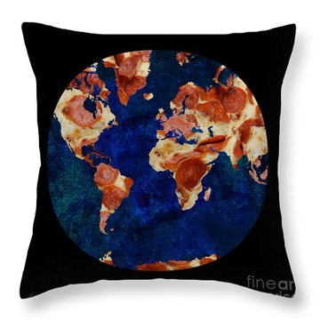 Pizza World Throw Pillow by Andee Design