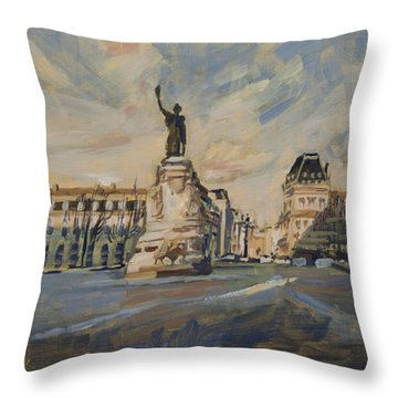 Throw Pillow featuring the painting Place De La Republique France by Nop Briex