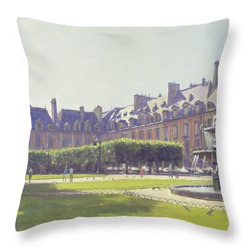 Place Des Vosges, Paris Oil On Canvas Throw Pillow
