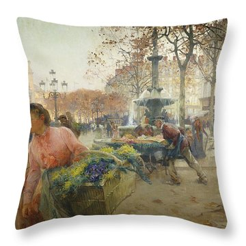 Place Du Theatre Francais Paris Throw Pillow by Eugene Galien-Laloue