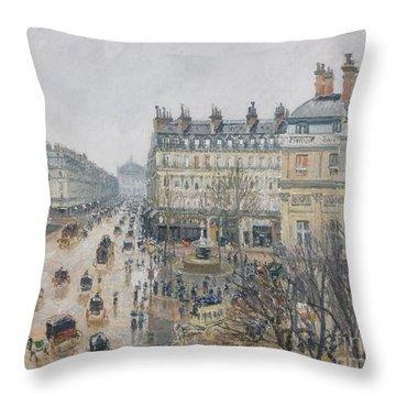 Place Du Theatre Francais    Paris  Rain Throw Pillow