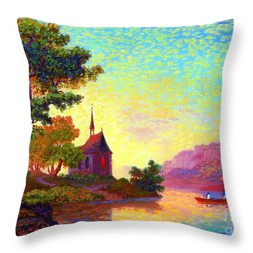 Beautiful Church, Place Of Welcome Throw Pillow by Jane Small