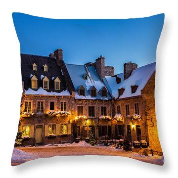 Place Royale Quebec City Canada Throw Pillow by Dawna  Moore Photography