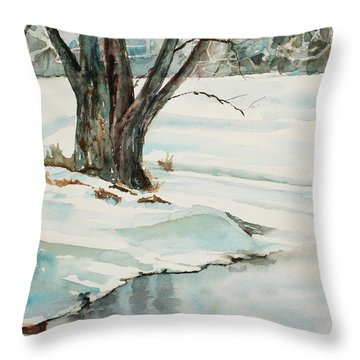 Placid Winter Morning Throw Pillow by Mary Benke