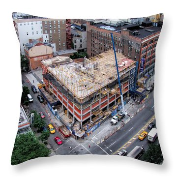 Placing Concrete Forms Throw Pillow by Steve Sahm