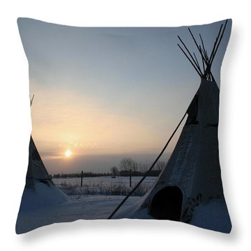 Plains Cree Tipi Throw Pillow by Larry Trupp