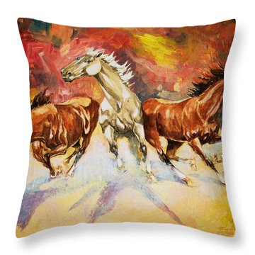 Plains Thunder Throw Pillow by Al Brown