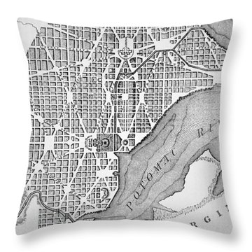 Plan Of The City Of Washington As Originally Laid Out In 1793 Throw Pillow by American School