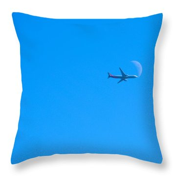 Plane Crossing The Moon Throw Pillow