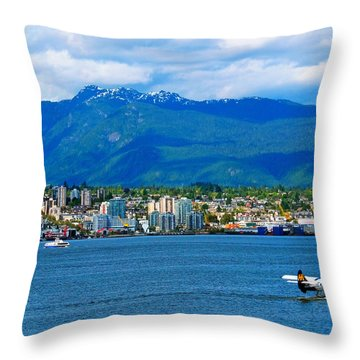Planes Boats And Mountains In Vancouver  Throw Pillow by Carol Cottrell