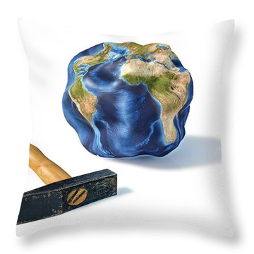 Planet Earth Smashed By A Hammer Throw Pillow by Leonello Calvetti