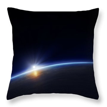 Planet Earth With Rising Sun Throw Pillow by Johan Swanepoel