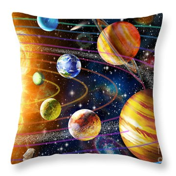 Planetary System Throw Pillow by Adrian Chesterman