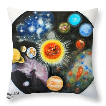 Planets And Nebulae In A Day Throw Pillow by Augusta Stylianou