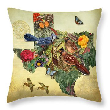 Plant Map Of Texas Throw Pillow by Gary Grayson