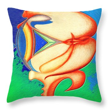 Throw Pillow featuring the drawing Plastic Sushi by Carl Hunter