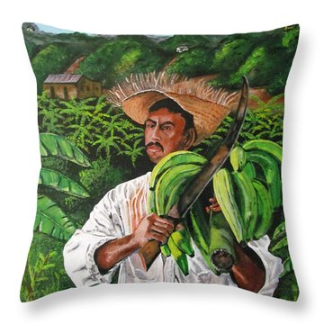 Platano Man Throw Pillow by Luis F Rodriguez