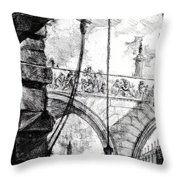 Plate 4 From The Carceri Series Throw Pillow by Giovanni Battista Piranesi