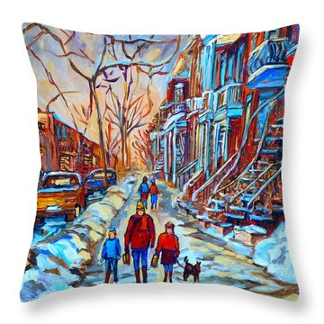 Plateau Montreal Street Scene Throw Pillow