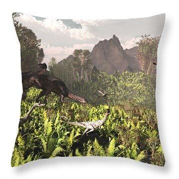 Plateosaurus And Ceolophysis Dinosaurs Throw Pillow by Arthur Dorety