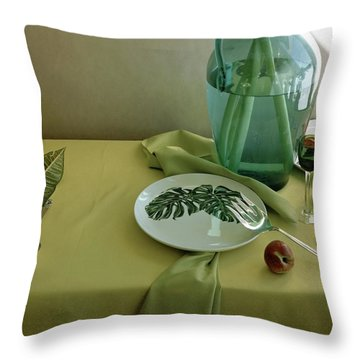 Plates, Apples And A Vase On A Green Tablecloth Throw Pillow
