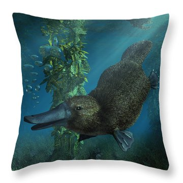 Platypus Throw Pillow by Daniel Eskridge