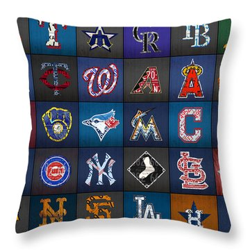 Play Ball Recycled Vintage Baseball Team Logo License Plate Art Throw Pillow by Design Turnpike