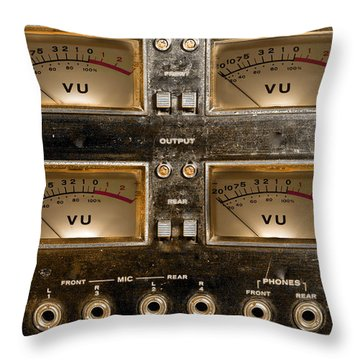 Throw Pillow featuring the photograph Playback Recording Vu Meters Grunge by Gunter Nezhoda