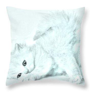 Playful Kitty Throw Pillow by J D Owen