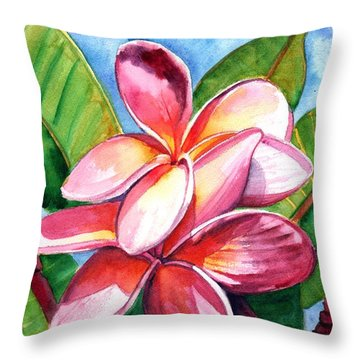 Playful Plumeria Throw Pillow
