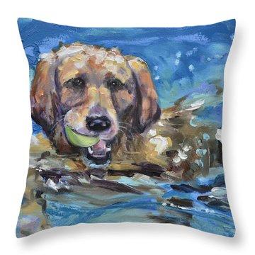 Playful Retriever Throw Pillow
