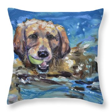 Playful Retriever Throw Pillow