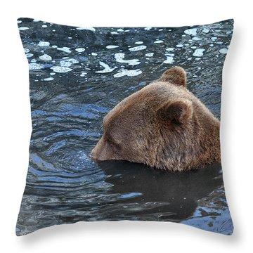 Playful Submerged Bear Throw Pillow