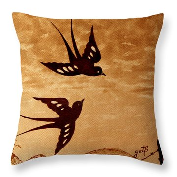 Throw Pillow featuring the painting Playful Swallows Original Coffee Painting by Georgeta  Blanaru