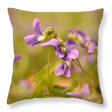 Playful Wild Violets Throw Pillow by Lois Bryan