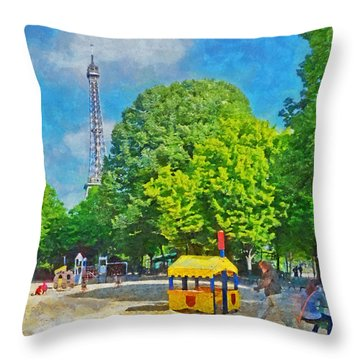 Playground On The Champ De Mars Near The Eiffel Tower Throw Pillow