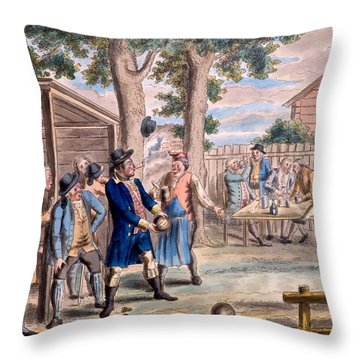 Playing Bowls Throw Pillow by Elis Chiewitz