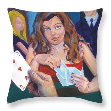 Playing Cards Throw Pillow by Mike Jory