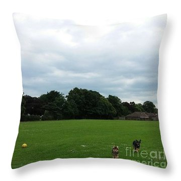 Playing Football Throw Pillow