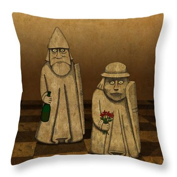 Throw Pillow featuring the drawing Playing For Peace by Meg Shearer