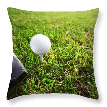Playing Golf. Club And Ball On Tee Throw Pillow by Michal Bednarek