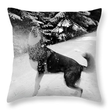 Playing In The Snow Throw Pillow by Carol Groenen