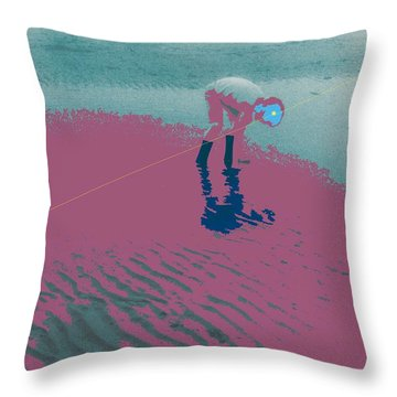 Throw Pillow featuring the photograph Playing In Tide Water 2a by Lyle Crump