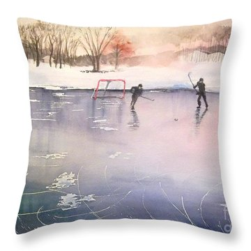 Playing On Ice Throw Pillow