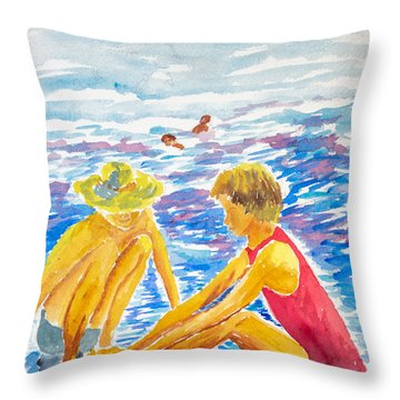 Playing On The Beach Throw Pillow