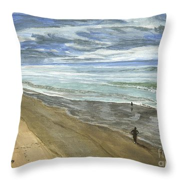 Throw Pillow featuring the painting Playing On The Oregon Coast by Ian Donley