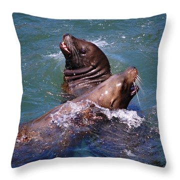 Throw Pillow featuring the photograph Playing Pair Of Sea Lions by Debra Thompson