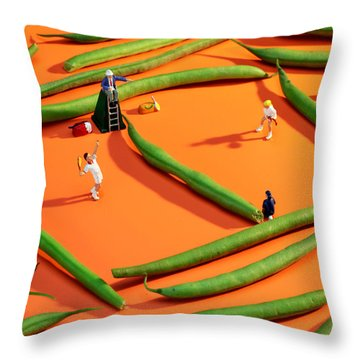 Playing Tennis Among French Beans Little People On Food Throw Pillow