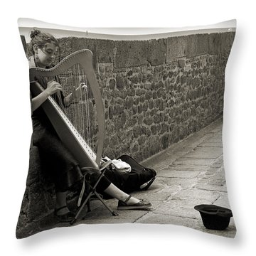 Playing The Celtic Harp Throw Pillow by RicardMN Photography