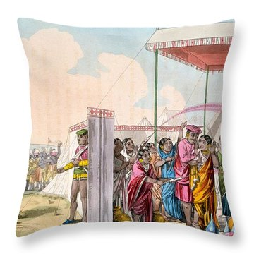 Playing The Hohlee, From The Costume Throw Pillow by Deen Alee